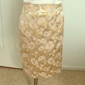 Banana Republic Silk/Cotton Blush Metallic Skirt